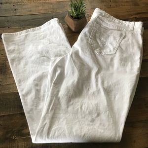 Smith's White Cotton Stretch Flare Jeans